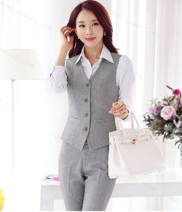 Đồng phục áo Gile nữ công sở 02
